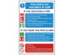 Members of Staff - Fire Action Safety Sign