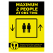 Maximum 2 people allowed in the Lift at one time social distancing lift guidance Sign
