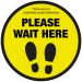 Please wait here with symbol social distancing floor sign