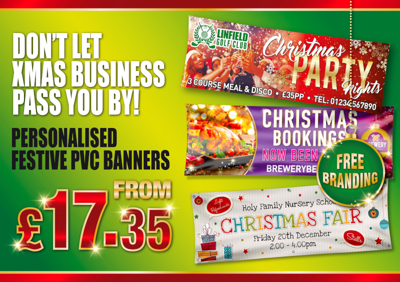 Personalised festive single sided pvc banners